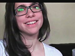 Teen In Glasses Sucking And Riding Cock In Pov