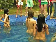 Sorority Girls Haze Little Ladies In A Homemade Pool Outdoors