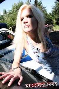 sexy punk blonde girl having fun